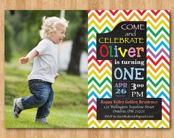 Rainbow 1st Birthday Invitation. Chevron First Birthday Party Invite with custom photo. Chalkboard. Boy or Girl. Printable digital DIY.