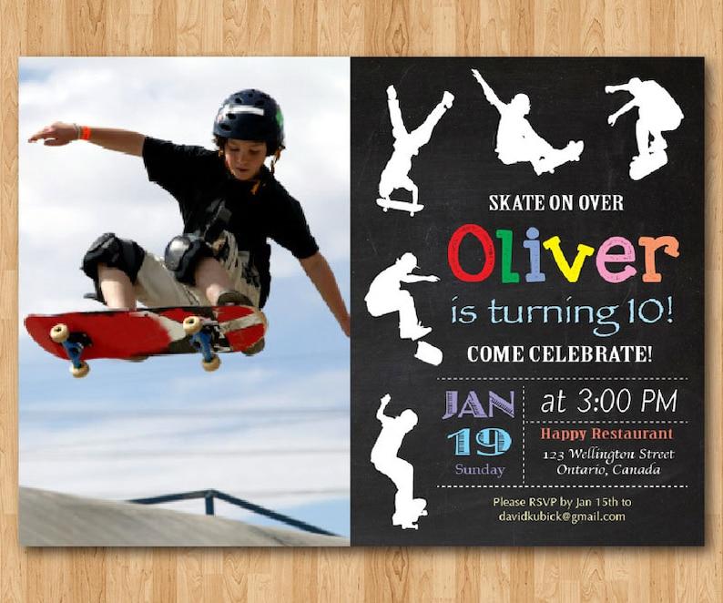 Skateboard Geburtstag Einladung Junge Skaten Theme Party Etsy