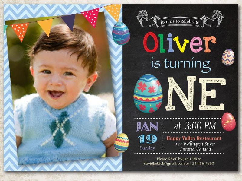 Easter Birthday Invitation Boy Egg First