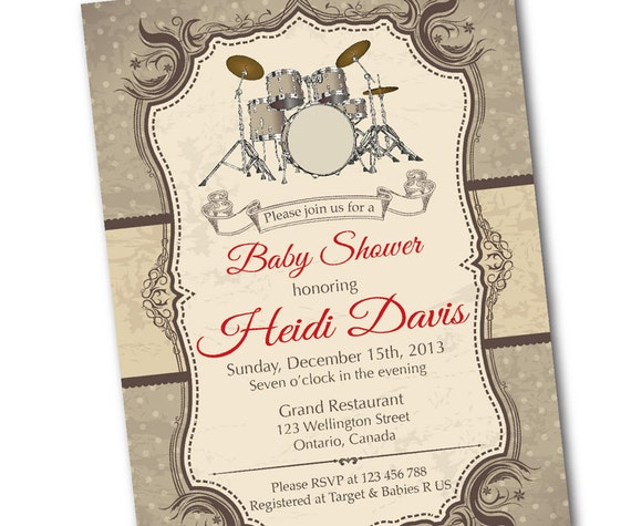 Drum baby shower invitation rock star music baby shower etsy image 0 filmwisefo