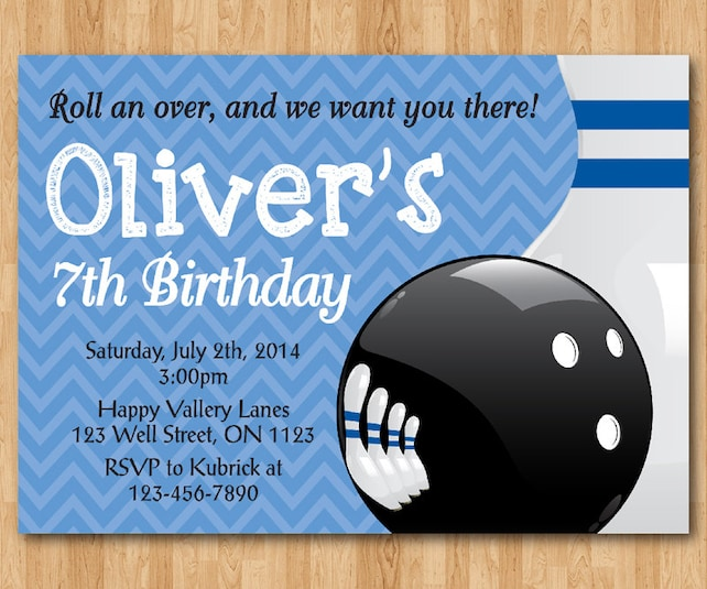 Bowling Boy Birthday Party Invitation Theme Bday Invite Blue Or Pink Chevron