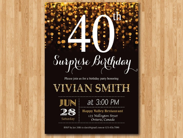 Surprise 40th Birthday Invitation Forty And Fabulous Gold Glitter Glam InviteAny Age Printable Digital