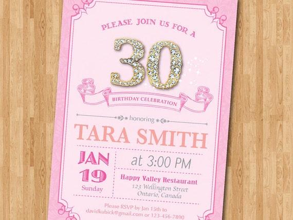 30 De Invitación De Cumpleaños Para Mujer Fiesta De Cumpleaños De Adultos Rosa Violeta O Cualquier Color Diamante Oro 60 50 40 30 De Cualquier
