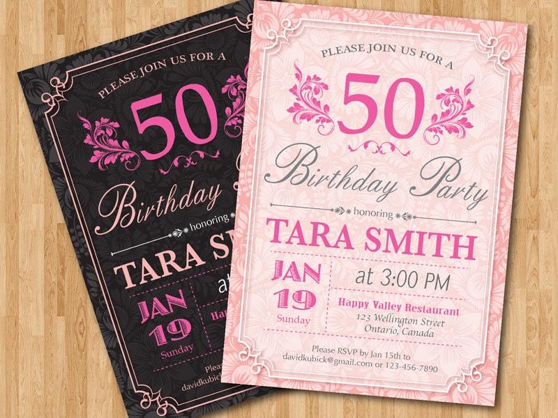 Invitación de 50 cumpleaños para mujer. Invita la fiesta de