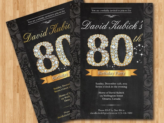 80th Birthday Invitation Black And Gold Diamond Number Bash Invite Chalkboard Background Custom Any Color Wording