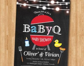 BBQ Baby Shower Invitation. BabyQ Shower Invitation. Chalkboard Co-ed Baby Shower Invite. Babyque Bbq Boy or Gril. Printable digital DIY.