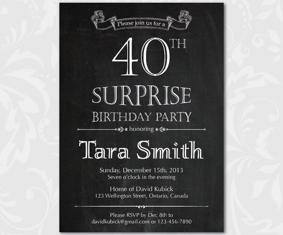 40th surprise birthday invitation 30th 40th 50th 60th 70th etsy