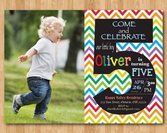 Rainbow 5th Birthday Invitation. Chevron Fifth Birthday custom photo. Chalkboard. Boy or Girl. Printable digital DIY.thday Party Invite