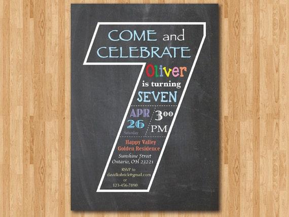 Chalkboard 7th Birthday Invitation Seventh Invite