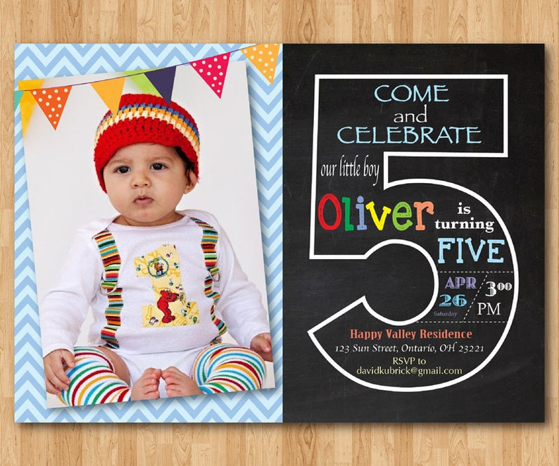 5th Birthday Invitation Fifth Birthday Invite With Photo Chalkboard Chevron Baby Boy Or Girl Blue Pink Any Color Printable Digital