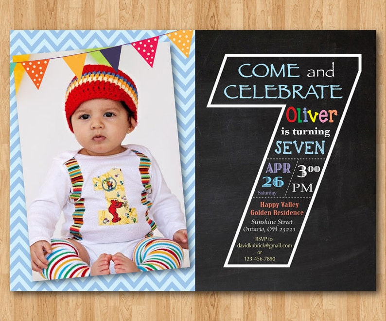 Chalkboard Seventh Birthday Invitation 7th Invite