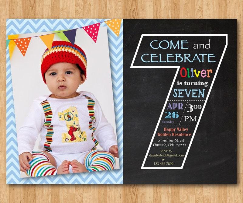 Chalkboard Seventh Birthday Invitation 7th Invite
