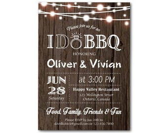 I do BBQ Invitation. Rustic. Wedding. Engagement Party. Rehersal Dinner Invite. Bridal Shower. Couples Shower. Printable Digital DIY.