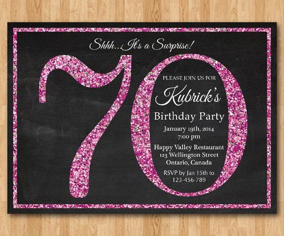 70 Geburtstag Einladung Rosa Glitter Geburtstags Party Einladen Erwachsene überraschung Geburtstag Elegant Druckbare Digitale Basteln