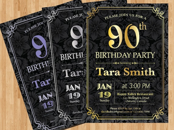 90th Birthday Invitation Gold Silver Or Any Color Chalkboard