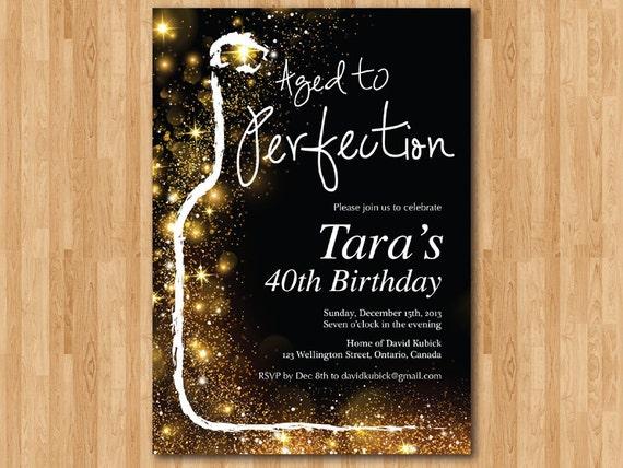 wine birthday invitation aged to perfection gold glitter etsy