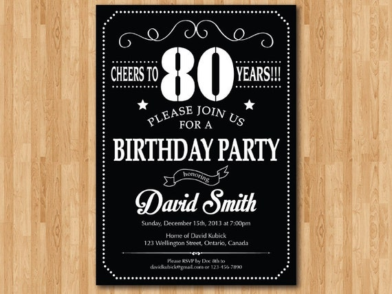 80th Birthday Invitation 70th 90th 40th 50th 60th 100th Any
