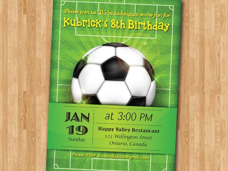 Soccer Birthday Invitation Football Baby Boy 1st First