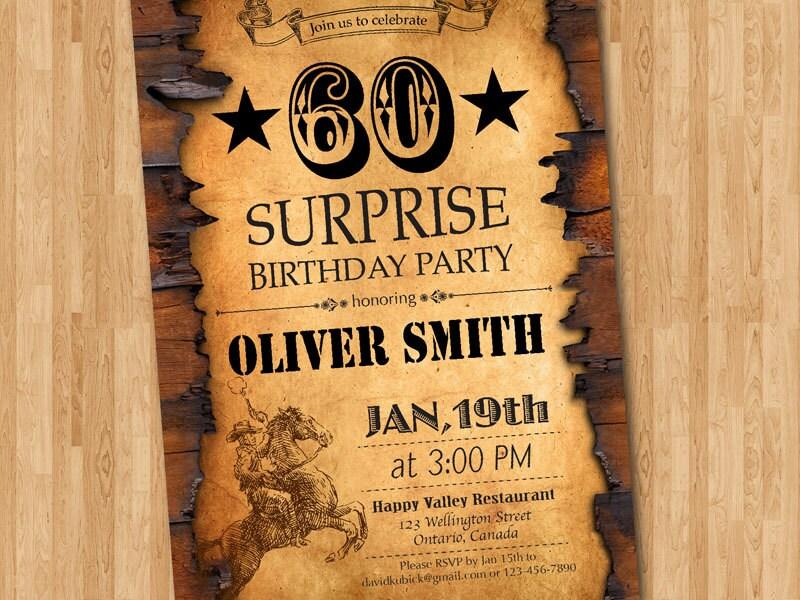 60th Birthday Invitation Western For Men Adult