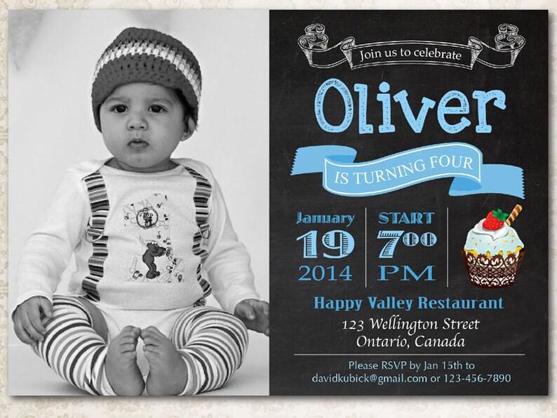 Chalkboard Cupcake Birthday Invitation Baby Boy 1st First