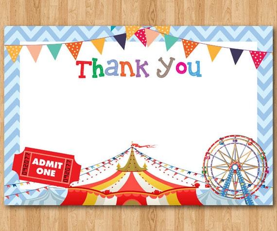 Circus Thank You Note Circus Theme Thank You Card Boy Etsy