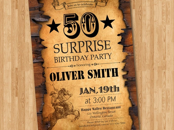 50th Birthday Invitation Western Theme For Men