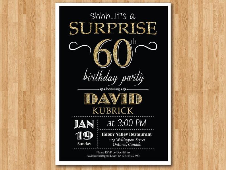 Surprise 60th Birthday Invitation Chalkboard Gold Glitter