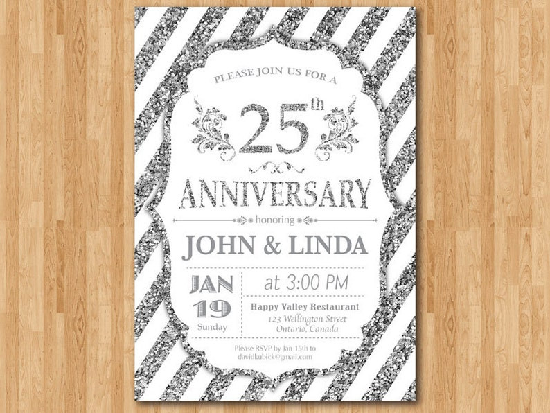 25th Anniversay Invitation Silver and White 10th 20th 25th 30th 40th 50th Any years Silver 25 Silver glitter Wedding Printable Digital.