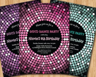 Disco Dance Party Birthday Invitation. Girl birthday party invites. Pink, Purple, Blue Glitter. Printable digital DIY.