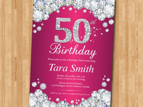 50th Birthday Invitation Women Pink Rhinestone Diamond