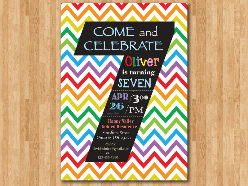Rainbow 7th Birthday Invitation Colorful Chevron