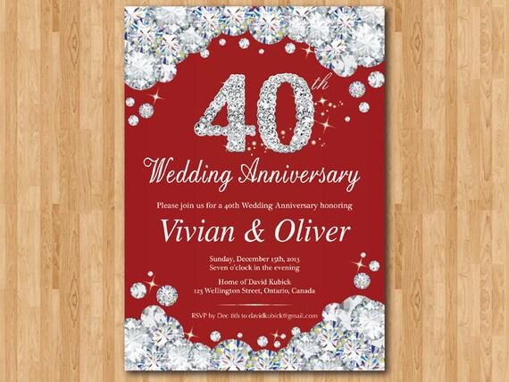 40 O Invitación Del Aniversario Rojo Rubí Aniversario De Boda Invita A Cualquier Edad Glam Bling Glitter Diamante Bricolaje Digital Imprimible