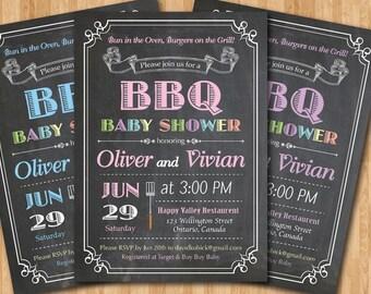 BBQ Baby Shower Invitation. Baby-Q Shower Invitation. Chalkboard Co-ed Baby Shower Invite. Babyque Bbq Boy or Gril. Printable digital DIY.