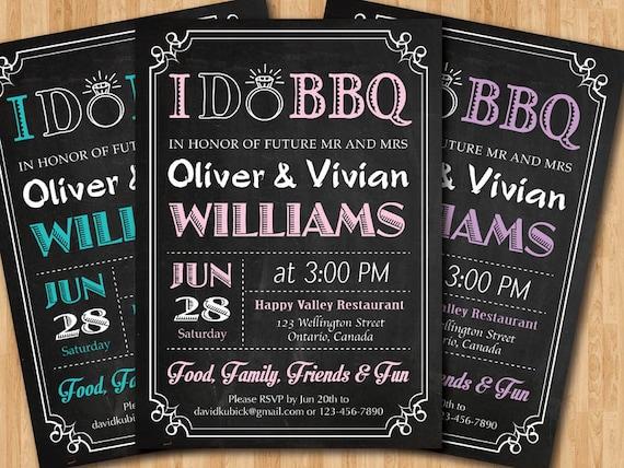 I Do Bbq Wedding Invitation Chalkboard Invite Pink Blue Etsy