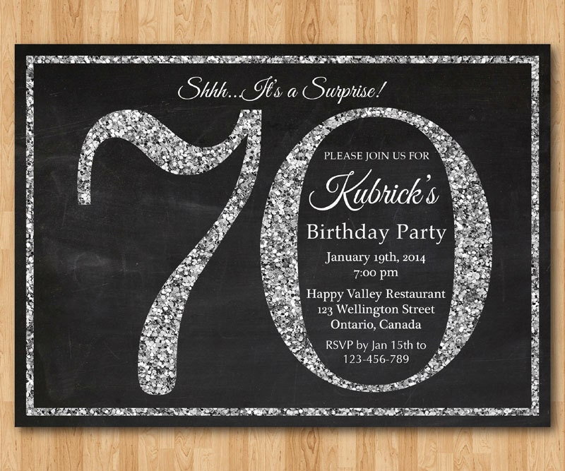 70th Birthday Invitation Silver Glitter Party Invite Adult Surprise Elegant Printable Digital DIY
