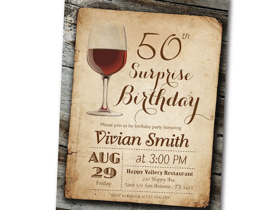Zaproszenie Na Urodziny Wina Urodziny Niespodzianka Vintage Etsy