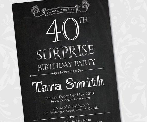 Außergewöhnlich Tafel Überraschung Geburtstag Einladung. 30. 40. 50. 60. 70.