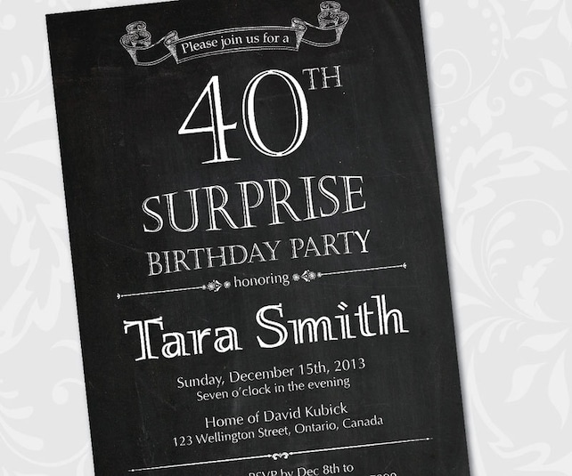 Chalkboard Surprise Birthday Invitation 30th 40th 50th 60th 70th 80th Party Invites Printable Digital DIY