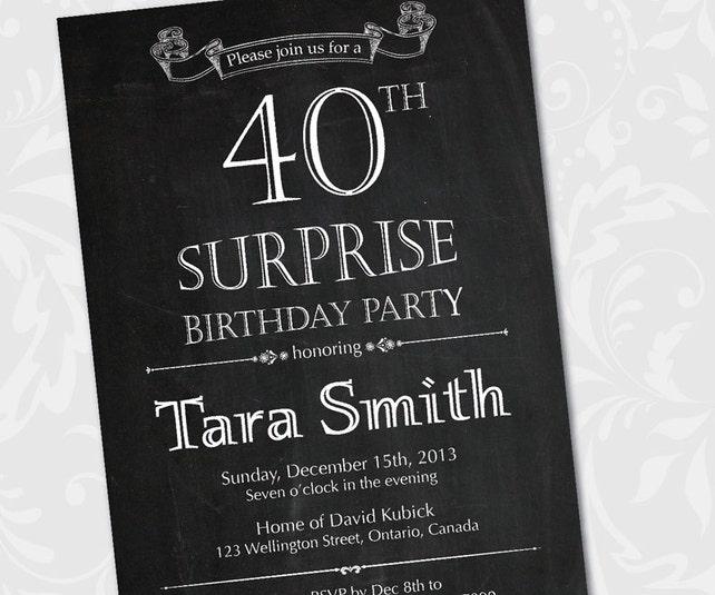 Chalkboard Surprise Birthday Invitation 30th 40th 50th 60th 70th 80th Party Invites Printable Digital DIY