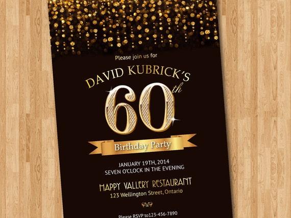 60th birthday invitation gold glitter diamond number birthday etsy image 0 filmwisefo