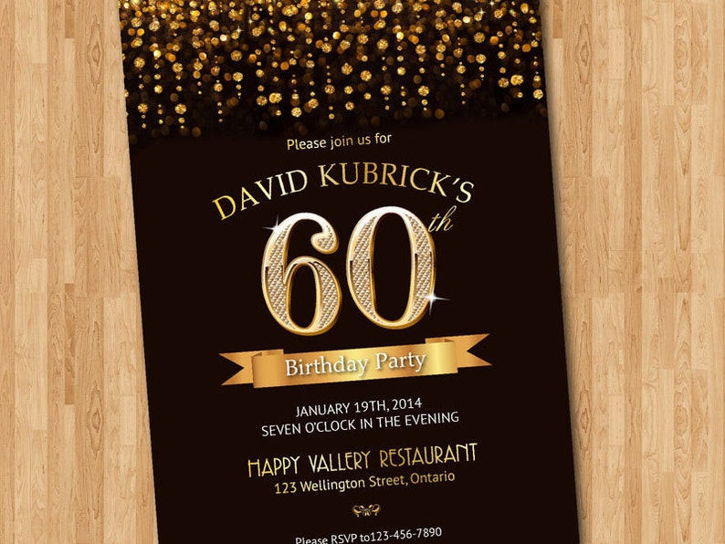 60th Birthday Invitation Gold Glitter Diamond Number Bash Invite Chalkboard Background Custom Any Color Wording DIY
