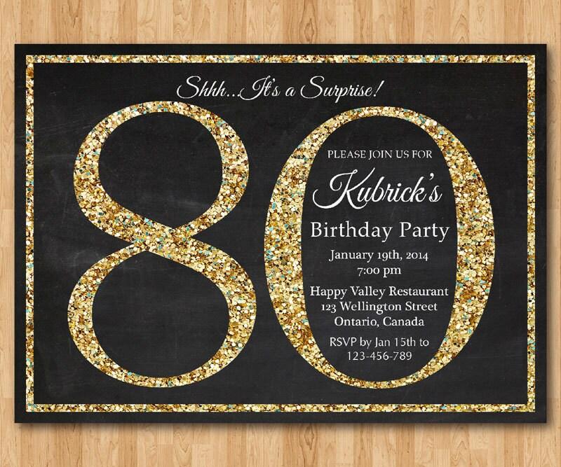 80th Birthday Invitation Gold Glitter Party Invite