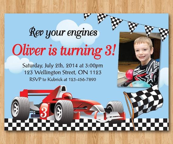 race car birthday invitation boy racing car birthday party etsy