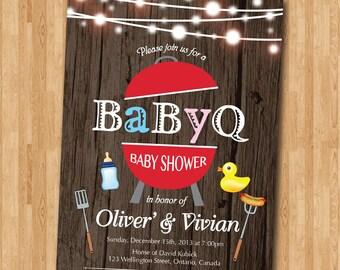 BBQ Baby Shower Invitation. BabyQ Shower Invitation. Rustic Co-ed Baby Shower Invite. Babyque Bbq Boy or Gril. Printable digital DIY.