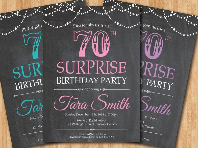 Surprise 70th Birthday Invitation Chalkboard