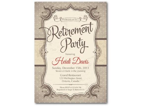 Invitación De La Jubilación Invitación Fiesta De Jubilación Celebración De La Jubilación Retro Vintage Fondo Rústico Digital Para Imprimir