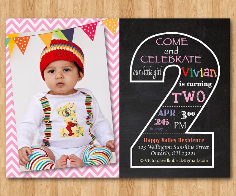 Second Birthday Invitation Chalkboard 2nd Invite