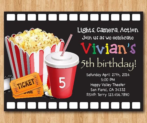Movie Birthday Invitation Movie Night Birthday Party Invite Etsy
