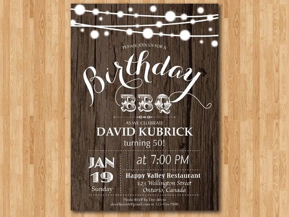 50th Birthday BBQ Invitation Wood Rustic Party Surprise Backyard String Lights Printable Digital