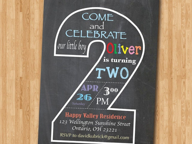Chalkboard 2nd Birthday Invitation Second Invite Baby Boy Or Girl Party Turning Two